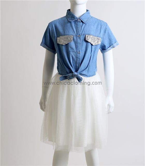 Φόρεμα τζιν με λευκό τούλι