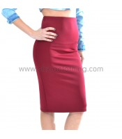 Slim fit high-weist midi burgundy skirt
