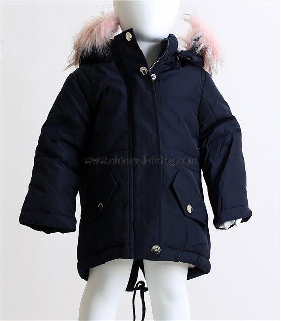 Βρεφικό μπουφάν με αποσπώμενη κουκούλα και ροζ γούνα (Σκούρο μπλε)