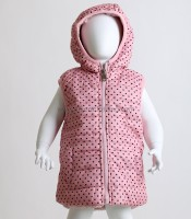 Βρεφικό αμάνικο μπουφάν πουά με καρδούλες (Ροζ)