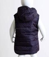 Βρεφικό αμάνικο μπουφάν πουά με καρδούλες (Μπλε)