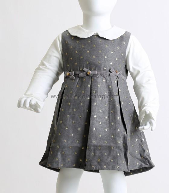 Βρεφικό φόρεμα με φιογκάκια και χρυσές λεπτομέρειες (Γκρι)