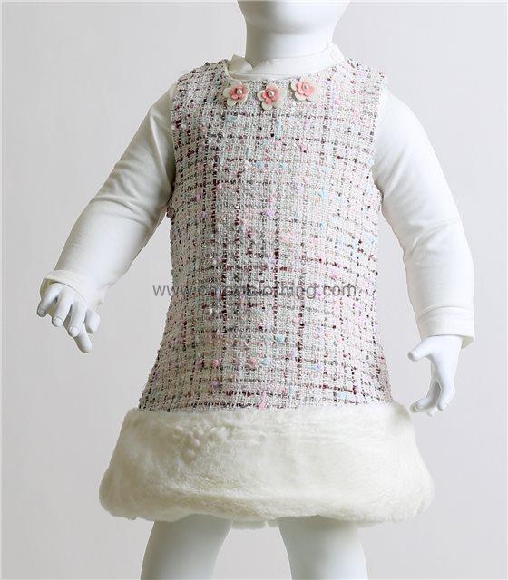 Βρεφικό σετ μπλούζα - φόρεμα με γούνινη λεπτομέρεια (Λευκό)