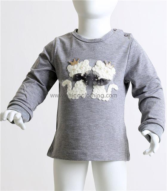 Βρεφική μπλούζα με σχέδιο γατάκια και πέρλες (Γκρι)