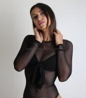 Κορμάκι μαύρο διαφάνεια με φιόγκο στο στήθος