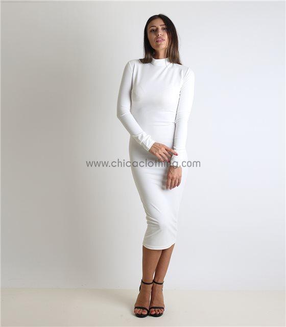 Midi πλεκτό φόρεμα ζιβάγκο με κρυφό φερμουάρ (Λευκό)