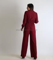 Ολόσωμη φόρμα κρουαζέ με κουμπιά και ζώνη (Μπορντό)