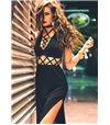 Μάξι φόρεμα με δέσιμο και ανοίγματα Μαύρο