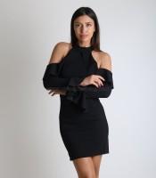 Μαύρο φόρεμα βολάν με ανοιχτούς ώμους