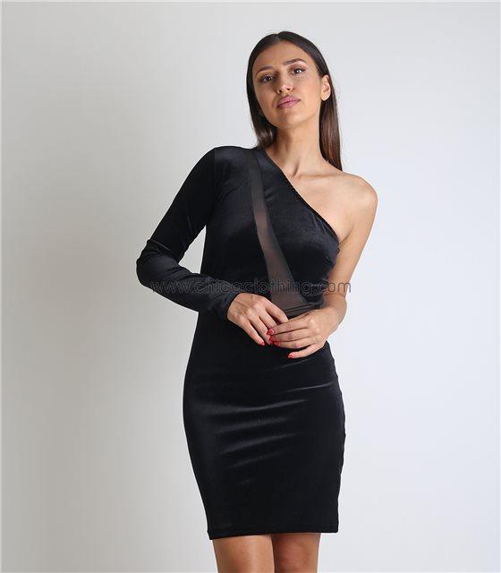 Μαύρο φόρεμα βελούδο με ένα μανίκι και λεπτομέρεια διαφάνεια