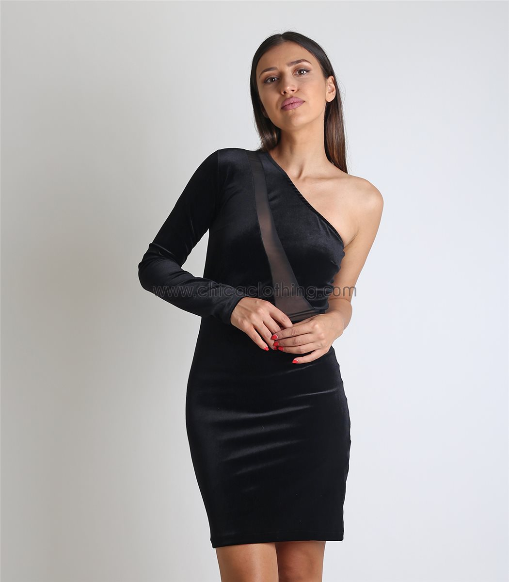 589199371a26 Γυναικείο μαύρο φόρεμα βελούδο με ένα μανίκι και λεπτομέρεια διαφάνεια