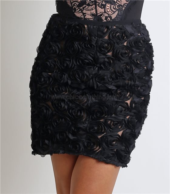 Φούστα με σχέδιο τριαντάφυλλα και φερμουάρ στο πλάι (Μαύρο)