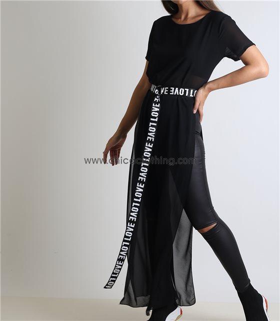 Μακριά μπλούζα με φόδρα και ανοίγματα (Μαύρο)
