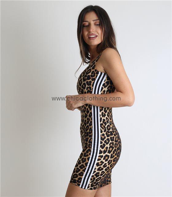 Μίνι εφαρμοστό φόρεμα με ανοιχτή πλάτη και ρίγες στο πλάι (Λεοπάρ)