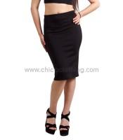 Στενή ψηλόμεση midi μαύρη φούστα
