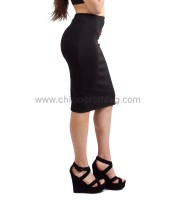 Midi high-waisted tight black skirt