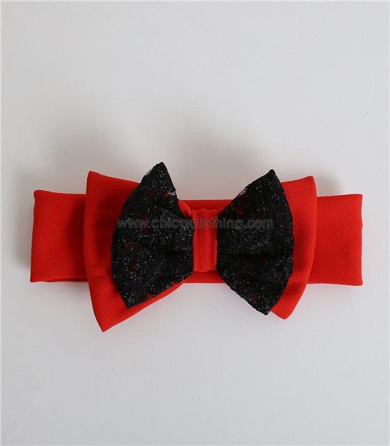 Παιδική κορδέλα με φιόγκο και δαντέλα (Κόκκινο)