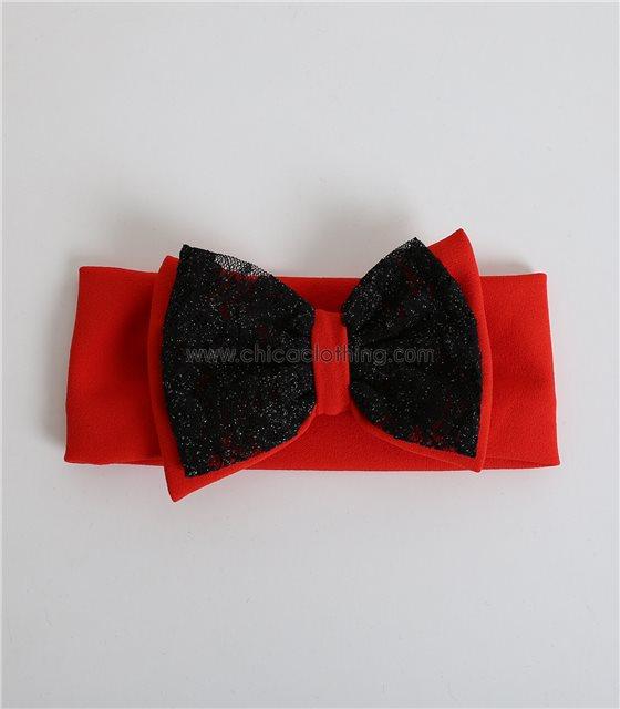Παιδική κορδέλα με φιόγκο και δαντέλα φαρδιά (Κόκκινο)