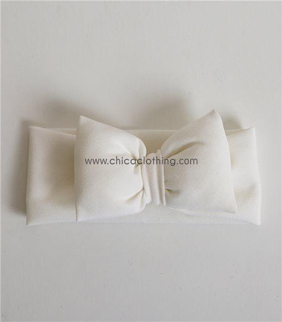 Παιδική κορδέλα με φιόγκο φαρδιά (Λευκό)