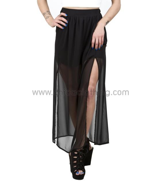 Φούστα μαύρη μάξι από διαφάνεια με σκισίματα