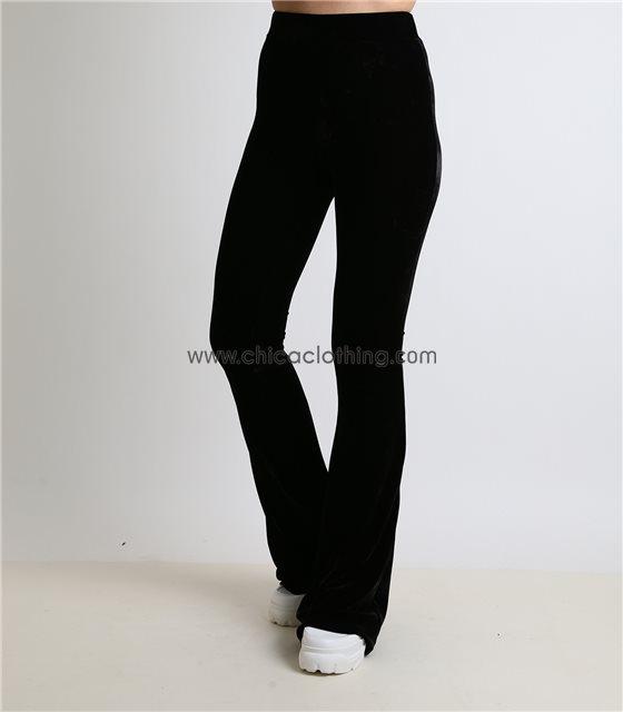 Μαύρη βελούδινη παντελόνα ψηλόμεση καμπάνα με λάστιχο