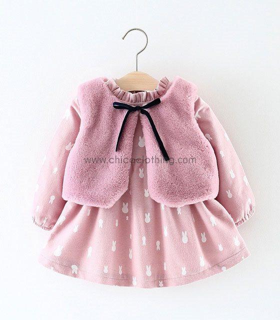 Βρεφικό ροζ σετ φόρεμα με γουνάκι