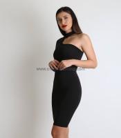 Φόρεμα ελαστικό με ένα μανίκι (Μαύρο)
