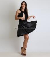 Φόρεμα με άνοιγμα μπροστά και δερματίνη στο κάτω μέρος (Μαύρο)