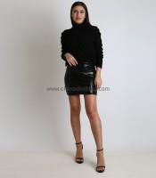 Φούστα μίνι ελαστική με παγιέτες (Μαύρο)