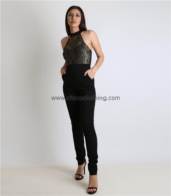 Ολόσωμη φόρμα μαύρη με μπούστο απο δαντέλα Χρυσή