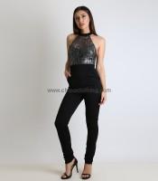 Ολόσωμη φόρμα μαύρη με μπούστο απο δαντέλα Ασημί