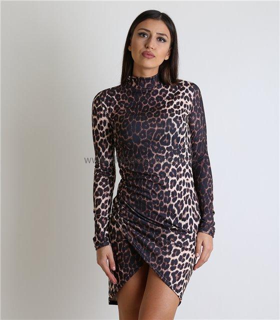 Ασύμετρο εφαρμοστό φόρεμα ζιβάγκο (Λεοπάρ)