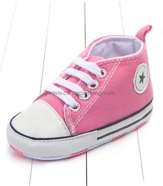 """Ροζ βρεφικά παπούτσια αγκαλιάς """"Stars"""""""