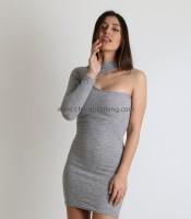 Φόρεμα πλεκτό ριπ ελαστικό με ένα μανίκι (Γκρι)