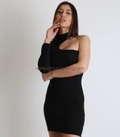 Φόρεμα πλεκτό ριπ ελαστικό με ένα μανίκι (Μαύρο)