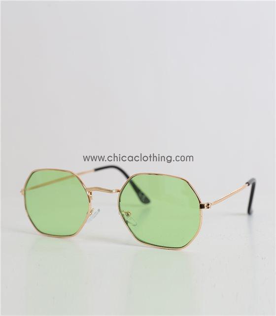 Γυαλιά ηλίου με πολύγωνο σκελετό και ανοικτό-πράσινο φακό