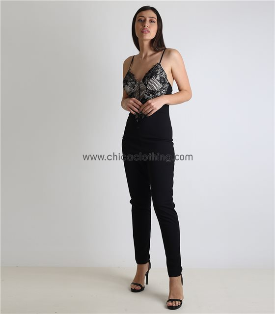 Ολόσωμη φόρμα με μπεζ φόδρα και κρυφό φερμουάρ (Μαύρο)