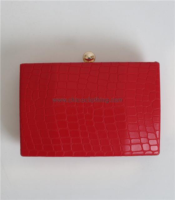 Τσάντα clutch snake (Κόκκινο)