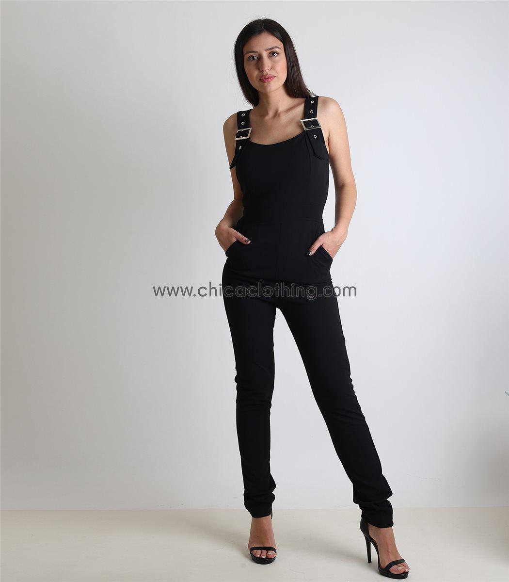 ac63e02fec78 Γυναικεία ολόσωμη φόρμα με ρυθμιζόμενα λουράκια και επένδυση (Μαύρο)