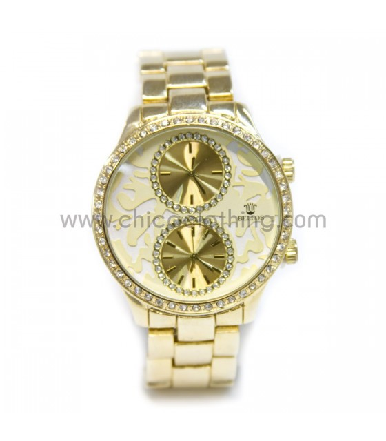Watch faux bijoux with rhinestone gold