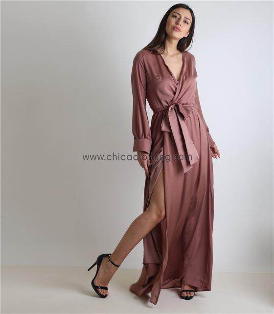 Μάξι φόρεμα κρουαζέ σατέν με ζώνη (Ροζ σάπιο μήλο)