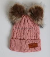 Πλεκτός σκούφος πλεξούδα για κορίτσι με φουντάκια (Ροζ)