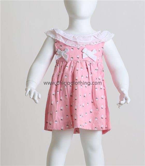 Βρεφικό ροζ φόρεμα αμάνικο με δαντέλα στο λαιμό