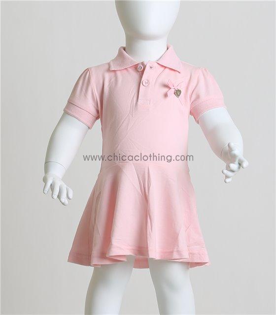 Βρεφικό φόρεμα κοντομάνικο με φιογκάκι (Ροζ)