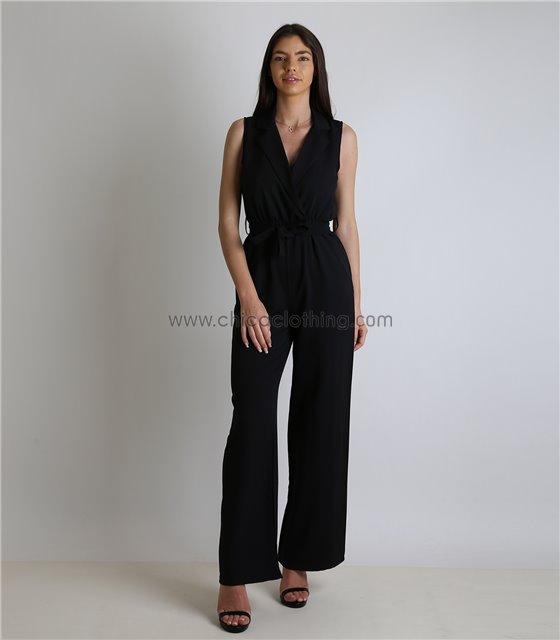 Ολόσωμη φόρμα με γιακά και ζώνη (Μαύρο)