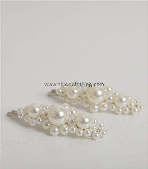 Τσιμπιδάκια μαλλιών με πέρλες ΣΕΤ (Λευκό)