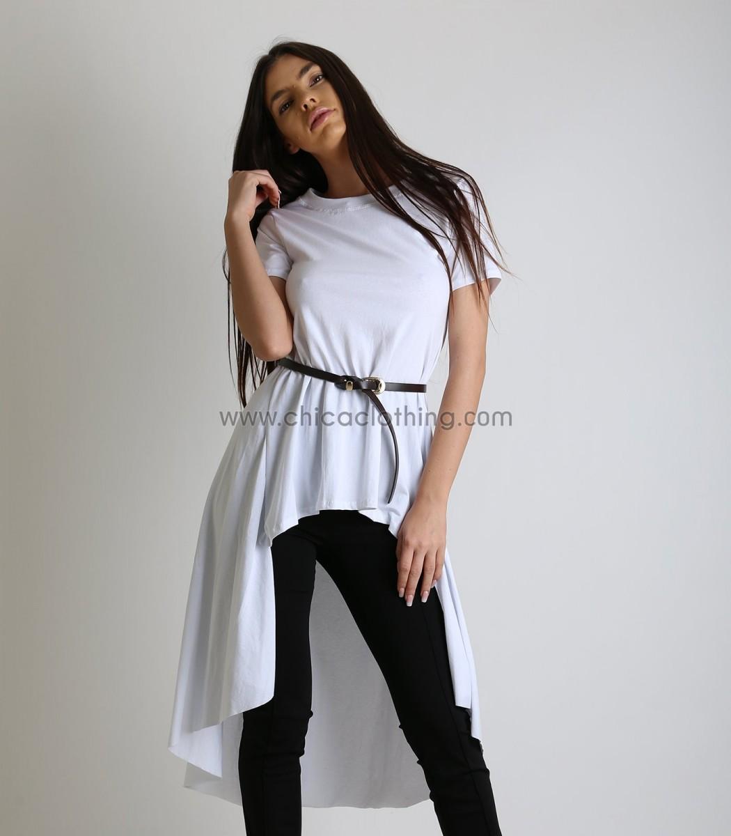 3d61889d5e Γυναικεία μακριά μπλούζα κοντομάνικη με ζώνη (Λευκό)