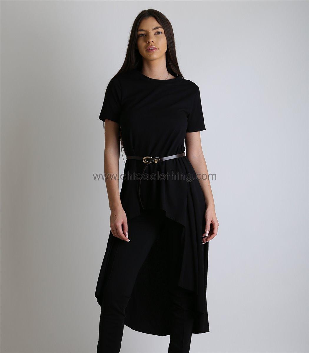 46013bdfbd Γυναικεία μακριά μπλούζα κοντομάνικη με ζώνη (Μαύρο)