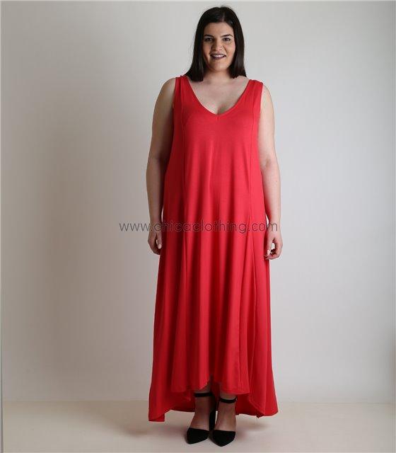 Φόρεμα με τιράντες και λωρίδα στο πίσω μέρος (Κόκκινο)