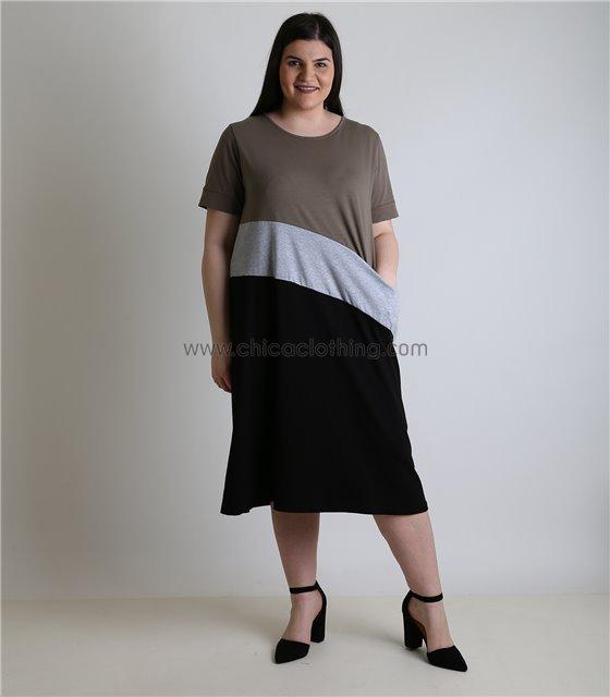 Φόρεμα τρίχρωμο μακρύ με τσέπη (Μαύρο)
